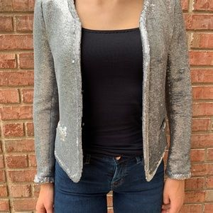 Maje Silver Sequin Cropped Jacket Size 36 (US 4)
